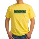 LOVE Silk Tapestry Skyblue Yellow T-Shirt