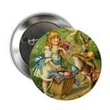 Victorian Girl and Easter Rab Button