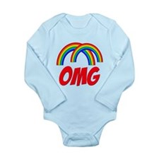 Double Rainbow OMG Long Sleeve Infant Bodysuit