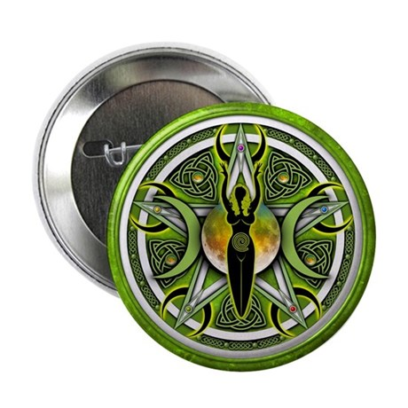 "Pentacle of the Green Goddess 2.25"" Button (1"