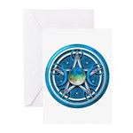 Blue Triple Goddess Pentacle Greeting Cards (Pk of