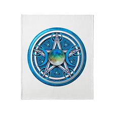 Blue Triple Goddess Pentacle Throw Blanket