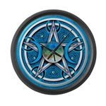 Blue Triple Goddess Pentacle Large Wall Clock