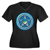 Blue Triple Goddess Pentacle Women's Plus Size V-N