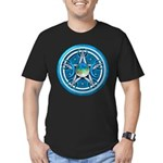 Blue Triple Goddess Pentacle Men's Fitted T-Shirt