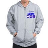 Male Breast Cancer Hope Zip Hoodie