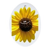 Smiley Sunflower. Oval Ornament