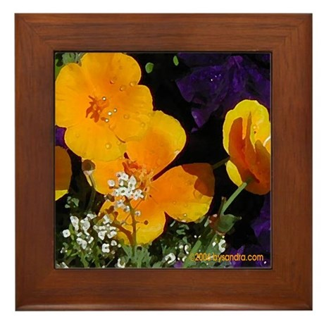 Poppy Bouquet Framed Tile