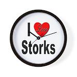 I Love Storks Wall Clock