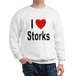 I Love Storks (Front) Sweatshirt
