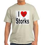 I Love Storks (Front) Ash Grey T-Shirt