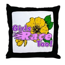 Girls Race Too Throw Pillow