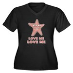 Love Me Women's Plus Size V-Neck Dark T-Shirt