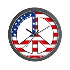 Peace sign American flag Wall Clock