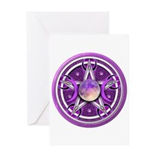 Purple Triple Goddess Pentacle Greeting Card