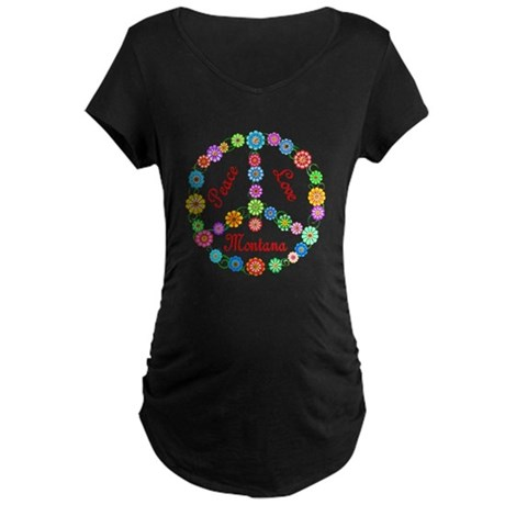 Peace Love Montana Maternity Dark T-Shirt