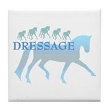 dressage horses (blue) Tile Coaster