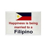 "Happily Married To A Filipino Magnet (3""x2"")"