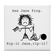 SEE JANE FROG: Tile Coaster