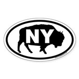 Buffalo NY Euro Oval Sticker with Buffalo Graphic