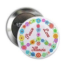 "Peace Love Illinois 2.25"" Button (100 pack)"