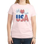 God Bless the USA Women's Pink T-Shirt