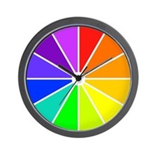 <b>RAINBOW CLOCKS:</b> Color Wheel Wall Clock
