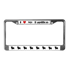 I Love My Papillon License Plate Frame