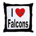 I Love Falcons Throw Pillow