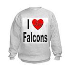 I Love Falcons (Front) Kids Sweatshirt
