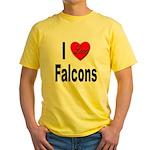 I Love Falcons Yellow T-Shirt