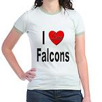 I Love Falcons (Front) Jr. Ringer T-Shirt