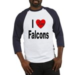 I Love Falcons (Front) Baseball Jersey