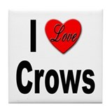 I Love Crows Tile Coaster