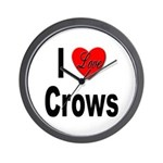 I Love Crows Wall Clock