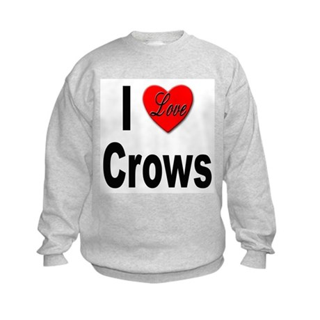 I Love Crows (Front) Kids Sweatshirt