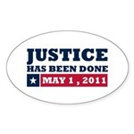 Justice Has Been Done Sticker (Oval 50 pk)