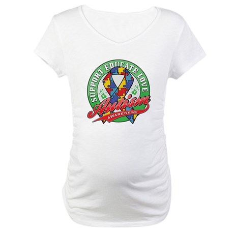 Autism Support Educate Love Maternity T-Shirt