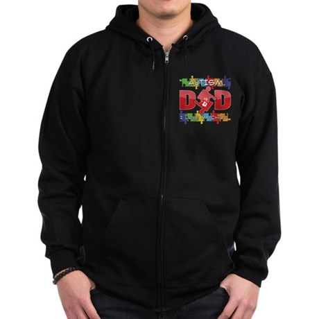 Autism Dad I Love My Child Zip Hoodie (dark)