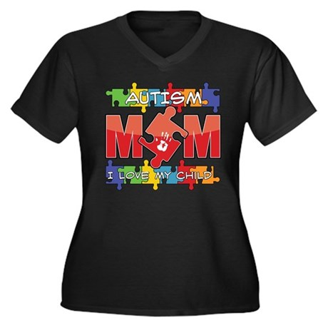 Autism Mom I Love My Child Women's Plus Size V-Nec