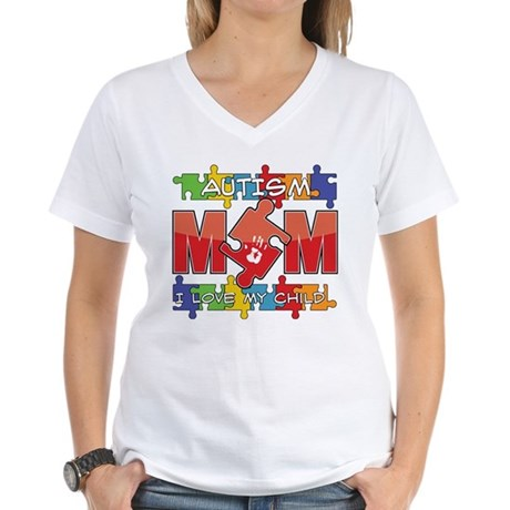 Autism Mom I Love My Child Women's V-Neck T-Shirt