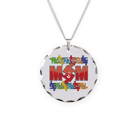 Autism Mom I Love My Child Necklace Circle Charm