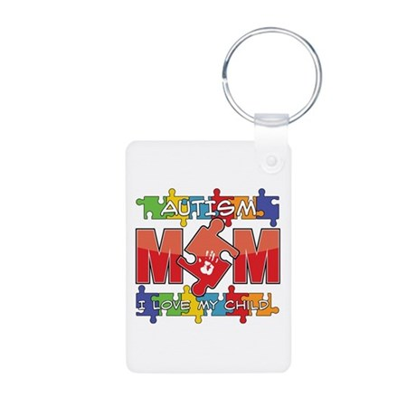 Autism Mom I Love My Child Aluminum Photo Keychain
