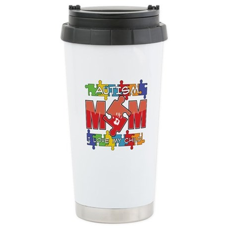Autism Mom I Love My Child Ceramic Travel Mug