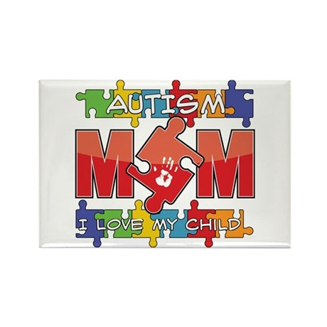 Autism Mom I Love My Child Rectangle Magnet