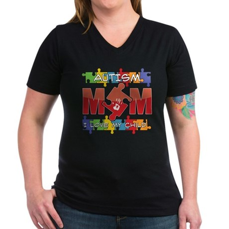 Autism Mom I Love My Child Women's V-Neck Dark T-S