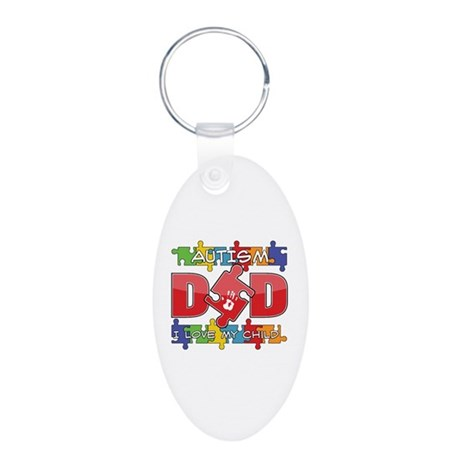 Autism Dad I Love My Child Aluminum Oval Keychain