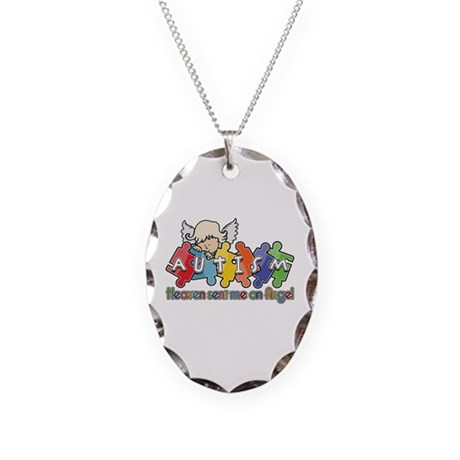 Autism Heaven SentMeAnAngel Necklace Oval Charm