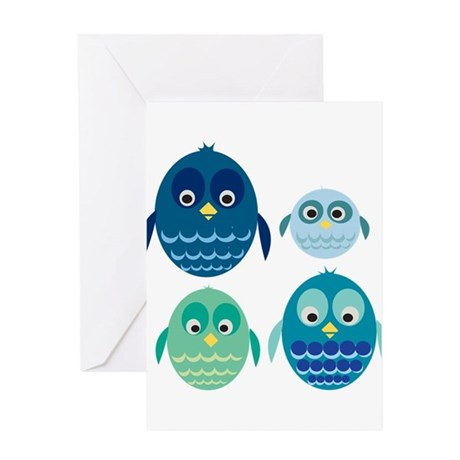 Blue Owl Family Greeting Card