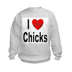 I Love Chicks (Front) Kids Sweatshirt